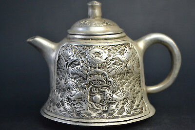 Vintage Collectible Noble Old Copper Silver Plate Dragon Totem Relievo Teapot