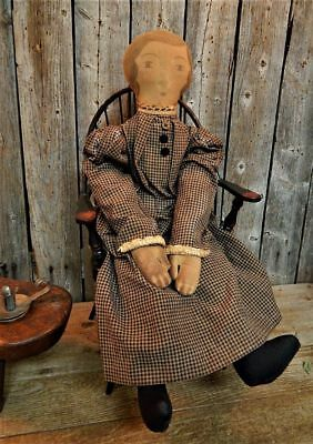 Vintage Early American Style Doll Primitive Folk Art Signed w/ Windsor Chair