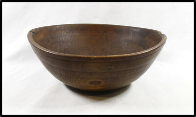 Antique American turned wood bowl 19th Folk Art treen SUPER PATINA LOOK