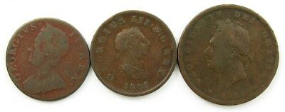 Lot of 3 British Copper Coins - VG/VF - 1747 ½ Penny/1806 ½ Penny/1826 Penny
