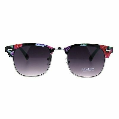 a862cb823a6 Flowers Floral Print Sunglasses Womens Vintage Square Horn Rim Shades