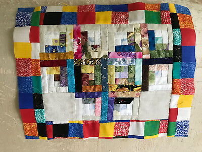 Machine pieced Scrapy Log Cabin mini quilt top #0146