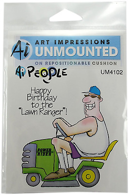 "Art Impressions People Cling Rubber Stamps 7""X4""-The Lawn Ranger Set storage NEW"