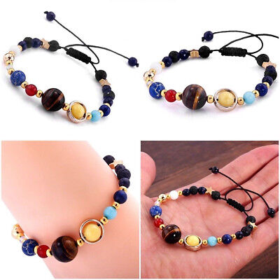 Hot Charms Bracelet Galaxy Solar System Eight Planets Theme Natural Stone Beaded