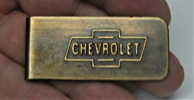 Chevrolet <> Money Clip FREE SH Brass with Bow-tie Logo New