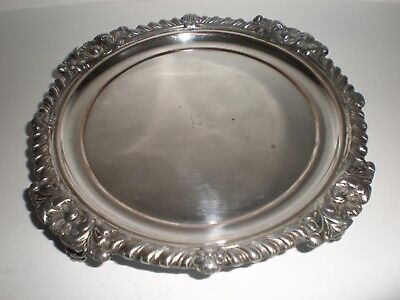 Lovely Antique/vintage Silver Plate Footed Serving Tray/plate - Christmas! (92)