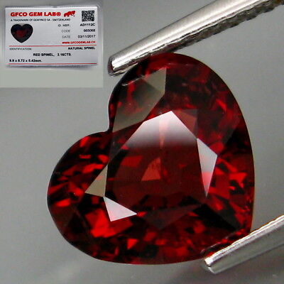 3.16Ct.FREE Certificate Best Color Natural BIG Top Noble Red Spinel HEART Lovely