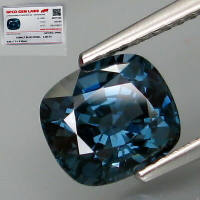 2.38Ct.FREE! Certificate Natural Cobalt Blue Spinel MaeSai,Thailand Full Fire!
