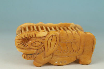 Chinese Old  Handmade Carved Elephant Statue Cage