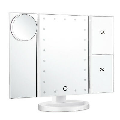 10X 3X 2X 1X Magnifying Mirror 21 LED Tri-Fold Vanity Mirror with Touch Screen