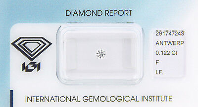 Diamant 0,122 ct F IF IGI Zertifikat  - Sealed -