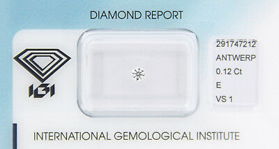 Diamant 0,12 ct E VS 1 IGI Zertifikat  - Sealed -
