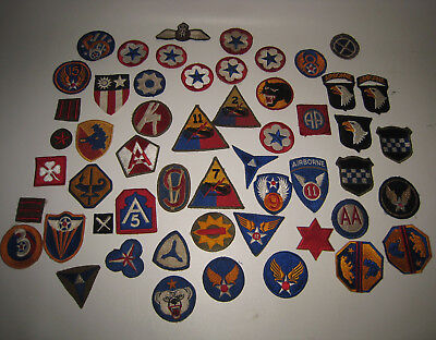 WWII Lot of 50+ Military Patches Unsorted From Estate Lot#BE28