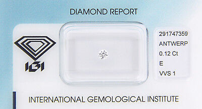 Diamant 0,12 ct E VVS 1 IGI Zertifikat  - Sealed -