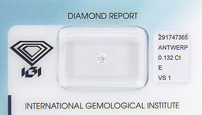 Diamant 0,132 ct E VS 1 IGI Zertifikat  - Sealed -