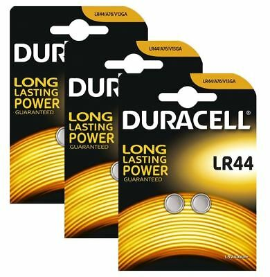 6 x Duracell LR44 1.5V Alkaline Button cell Batteries LR44 A76 AG13 357 SR44
