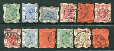 Selection of Old China Hong Kong GB QV /KEVII 12 x Classic stamps Used Nice Pmks