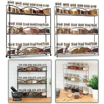 3 Tier Wall Mounted/free Standing Spice Rack Herb Holder 21 Jars Kitchen Storage