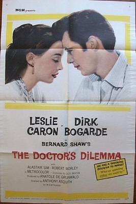 French Parisianne Leslie Caron With Dirk Bogarde Orig Doctor's Dilemma 1 Sheet