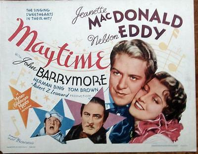 NELSON EDDY JEANETTE MacDONALD ORIGINAL MGM MAYTIME ROLLED US HALF SHEET
