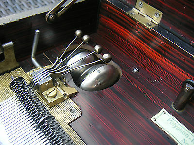 "Polyphon mit Glockenspiel 4 Glocken antique music box 4 bells with 8 1/8"" disc"
