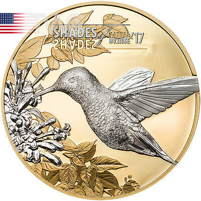 Cook Islands 2017 5$ Hummingbird Shades of Nature Proof Silver Coin