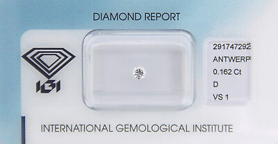 Diamant 0,162 ct D VS 1 IGI Zertifikat  - Sealed -