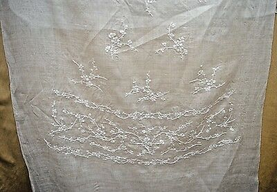 Heavenly Antique Edwardian Embriodered Linen Yardage Tt377