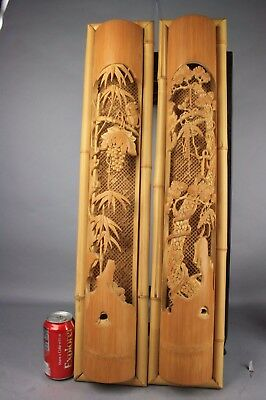 20th C. Chinese Pair of Bamboo Wall Decor