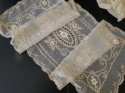 Circa 1900, Pair Of Pretty Cream Embroidered Lace Tambour Runners