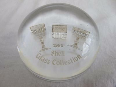 VINTAGE 1980's GLASS ADVERTISING PAPERWEIGHT - SHELL GLASS COLLECTION - 1985