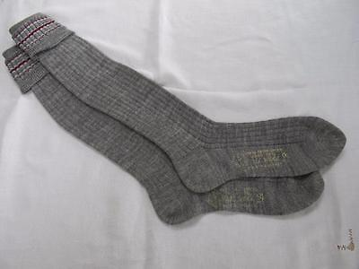 VINTAGE 1940's WW2 ERA GREY & BURGUNDY BOY'S SCHOOL EVACUEE SOCKS - SIZE 9½""