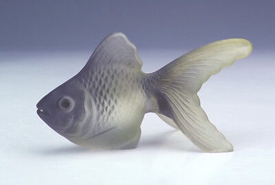 Vintage French Frosted Glass - Fantail Carp Fish Figure - Art Deco!