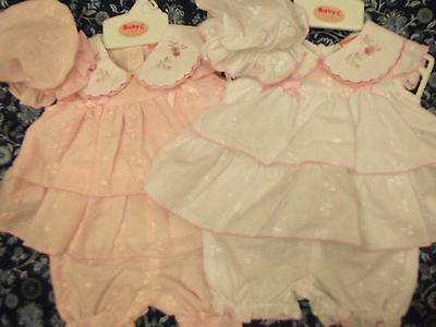 Dream Baby Premature Newborn Pink Or White Dress Bloomers & Mop Hat Or Reborn