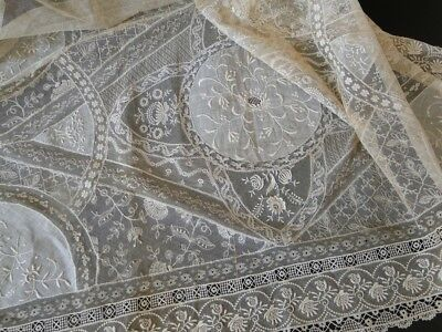Circa 1900, French Normandy Lace Curtain Panel #2