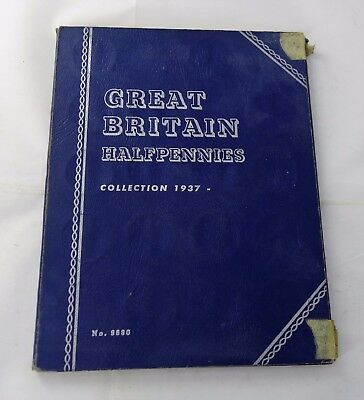 1937 - 1959 Complete Great Britain Halfpennies Set 27/27 Coins Whitman AlbumA737