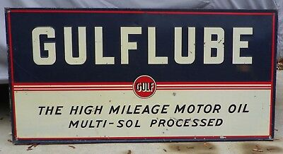 1930's 1940's GULFLUBE MOTOR OIL GAS STATION EMBOSSED SIGN