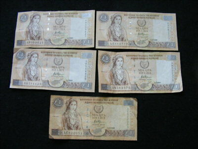 CYPRUS £1 Banknotes Lot of 5 as pictured, fine