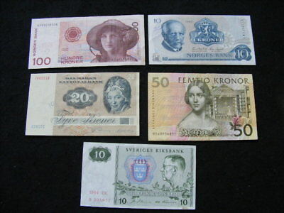 Sweden Denmark Norway Lot of 5 Banknotes as pictured