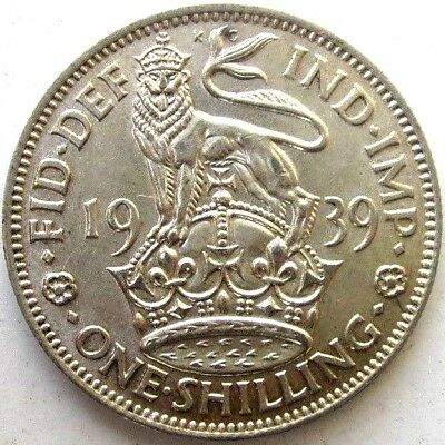 Great Britain Uk Coins, One Shilling 1939, English, George Vi, Silver 0.500