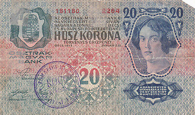 20 Kronen Vg Banknote From Austro-Hungary 1919!stamped In Komarom County..