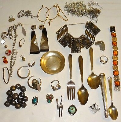 LOT of ASSORTED Antique/Vintage STERLING SILVER JEWELRY & MORE~388G TW~AS-IS!