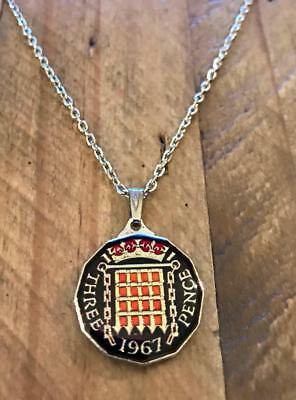 Vintage Enamelled Three Pence Coin 1967 Pendant & Necklace. Great Christmas Gift