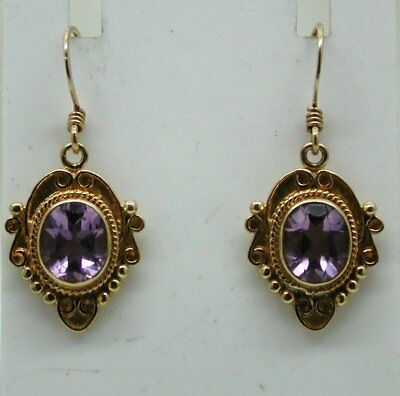 Very Lovely Nice Heavy Quality 9 Carat Gold And Amethyst Antique Style Earrings