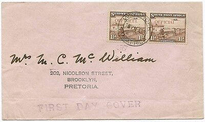 South West Africa Official 1 1/2d pair on cover to Pretoria FD use SGO17 £750.00