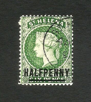 St Helena QV HALF PENNY on 6d green with N Y spaced used SG 35a
