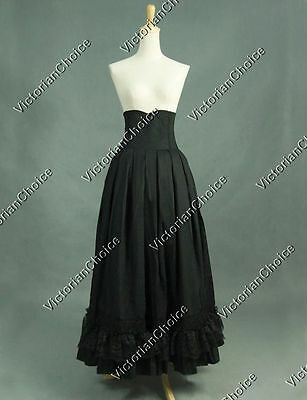 Black Gothic Victorian Edwardian 1900s Skirt Steampunk Theater Clothing K035 XXL