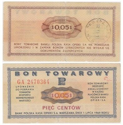 Five Cents Polish banknote - Bon Towarowy - issued in 1969 GA ff