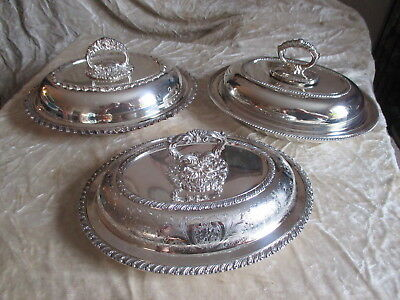 Three 3 antique silver plate covered vegetable casserole dishes vintage