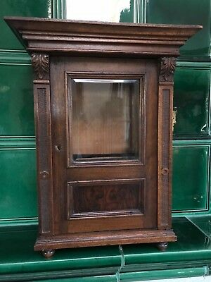 ANTIQUE cabinet salesman sample miniature opal / polished glass door two drawer
